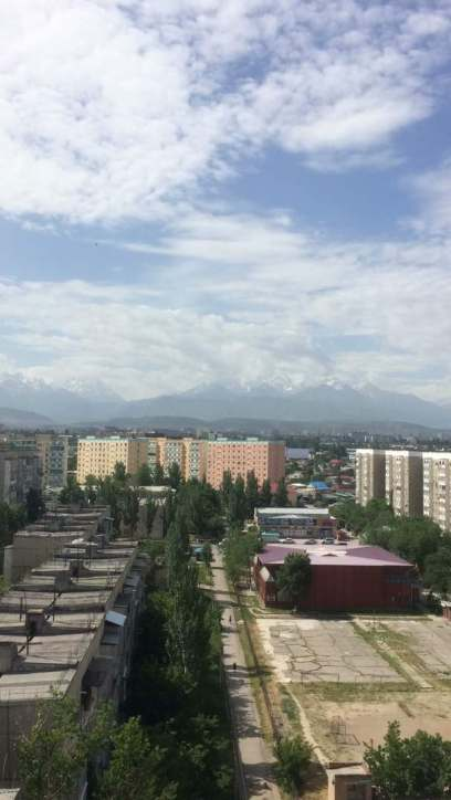 Bishkek is a green city at the foot of snow covered mountains