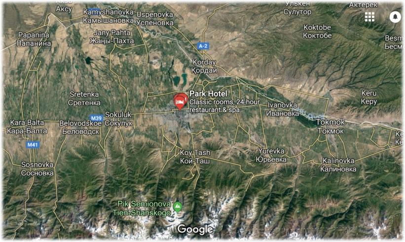 Bishkek Map Zoom with Mountains