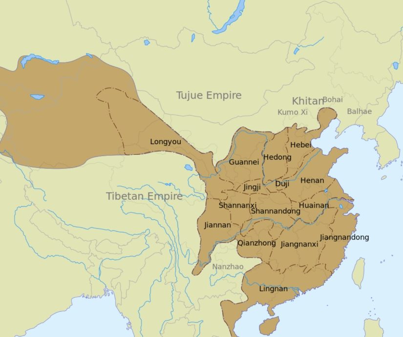 Tang dynasty administrative divisions in 742 CE