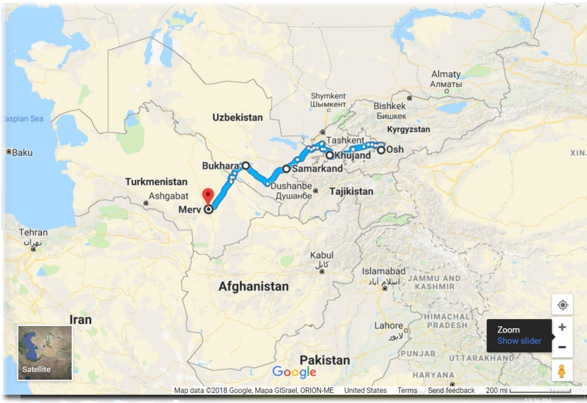 Silk Road Map Osh to Merv
